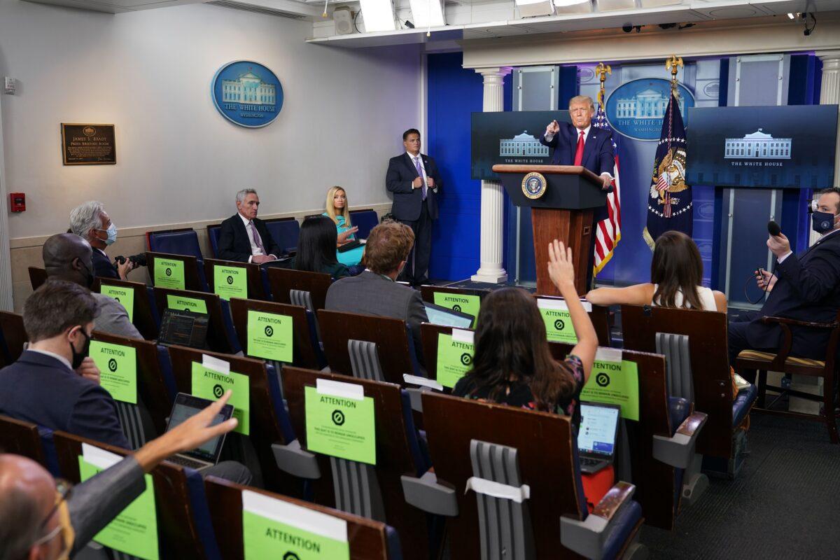 2020年9月16日,唐納德·特朗普總統在華盛頓白宮新聞發佈會上講話。(Mandel Ngan/AFP via Getty Images)
