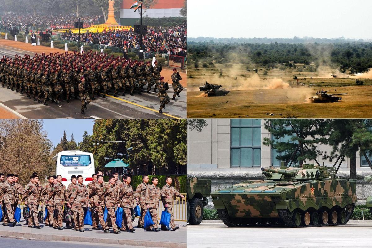 合成圖,圖的上部為印度士兵和裝備示意圖;下部為中共士兵和裝備示意圖。(維基百科/大紀元合成)
