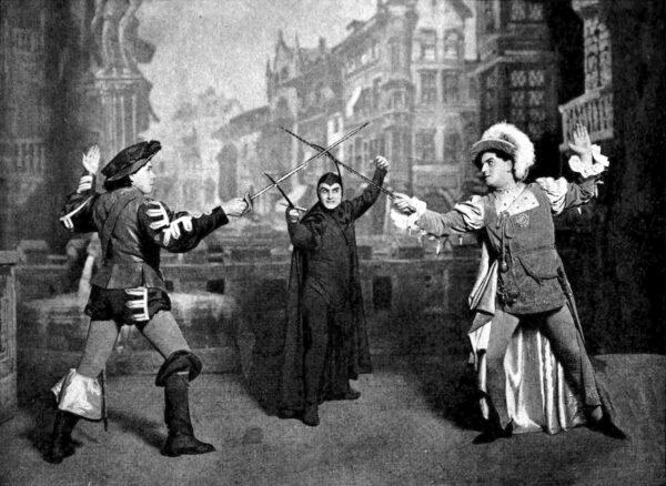 查理斯·古諾的歌劇《浮士德》第四幕的決鬥場景 ,摘自1917年的《維克多拉歌劇集》(The Victrola Book of the Opera)(公共領域)