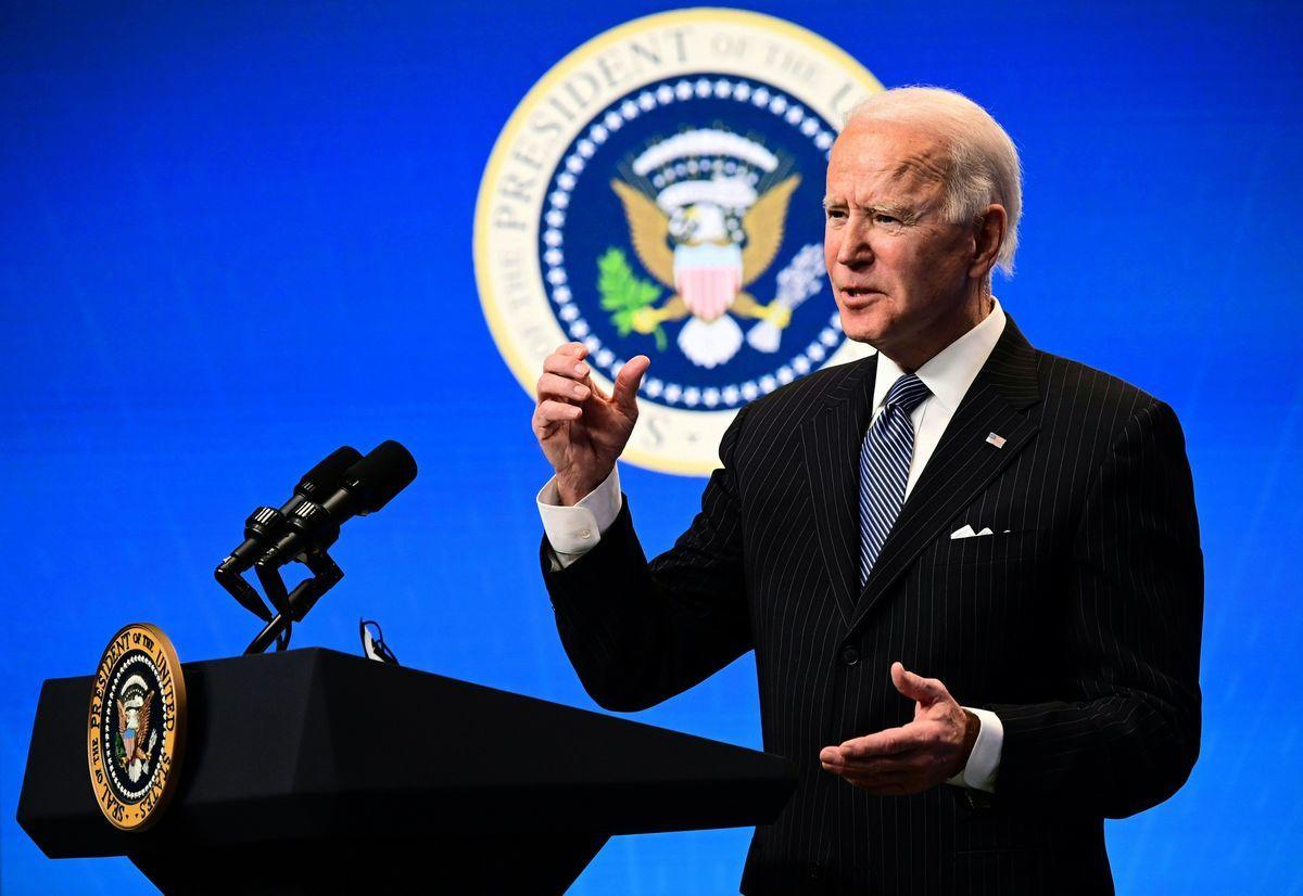 2021年1月25日,美國總統拜登在白宮回答媒體提問。 (JIM WATSON/AFP via Getty Images)