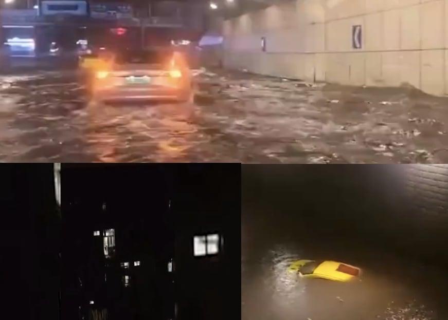 2021年5月2日晚間,四川多地以及重慶均出現特大雷暴雨。圖為重慶暴雨。(影片截圖合成)
