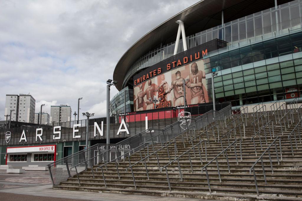 2020年3月13日,英格蘭足球超級聯賽官方宣佈,因受疫情影響,英超聯賽暫停至4月3日。圖為阿仙奴足球俱樂部的主場酋長球場外景。(Dan Kitwood/Getty Images)