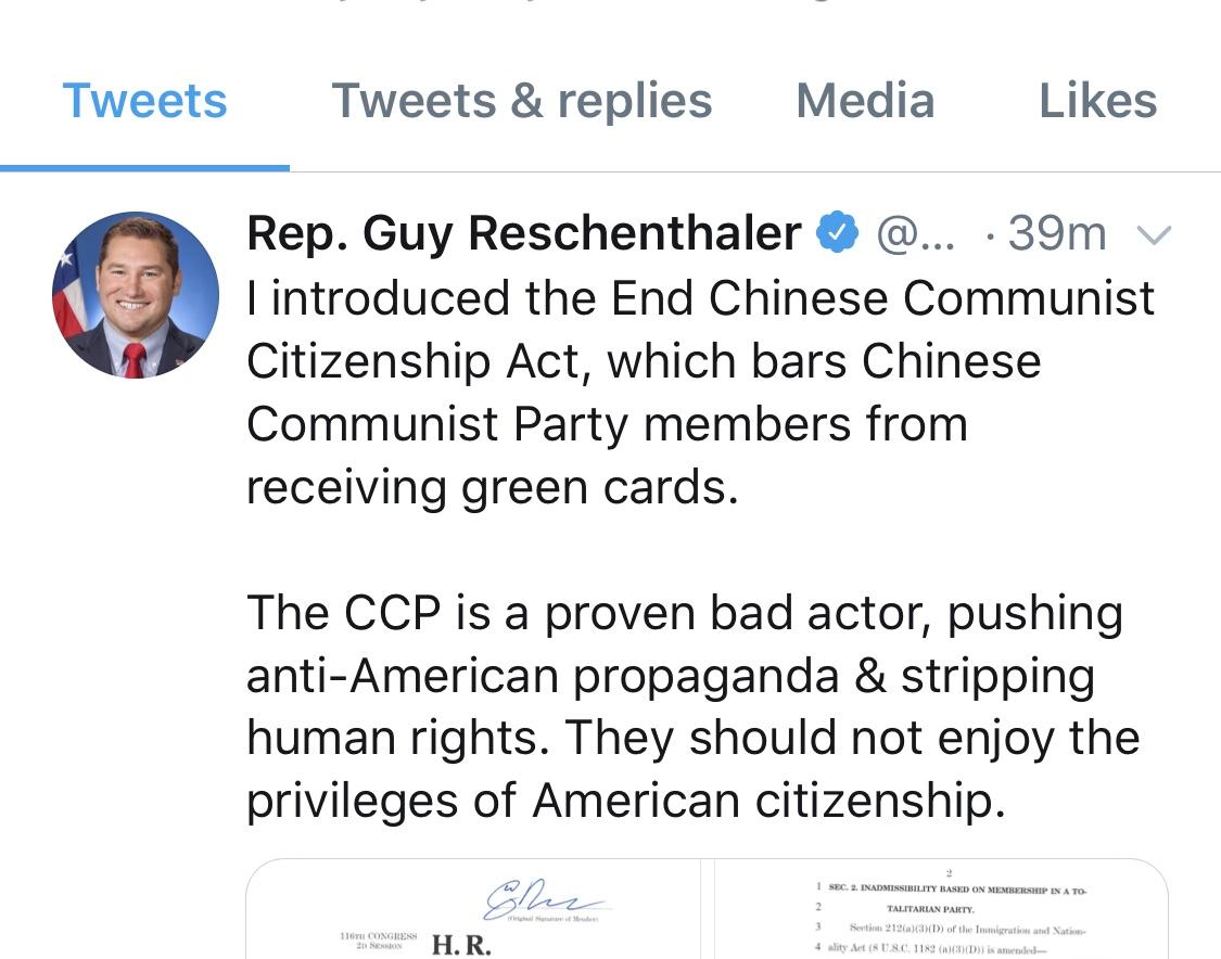 美國共和黨籍賓州國會議員Guy Reschenthaler提法案,禁止中國共產黨員獲得美國永久居民身份。(Guy Reschenthaler推特)