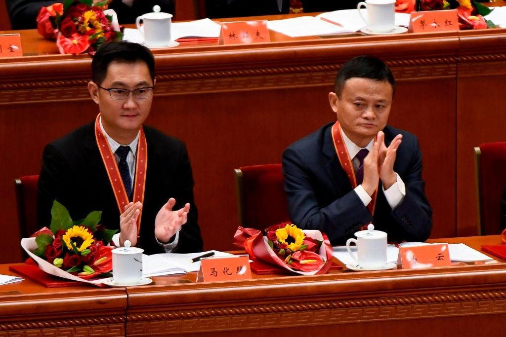 馬雲退休僅僅10天後,馬化騰也卸任騰訊徵信法人。輿論則指這標誌著中共「二馬時代」的落幕。 (WANG ZHAO/AFP/Getty Images)