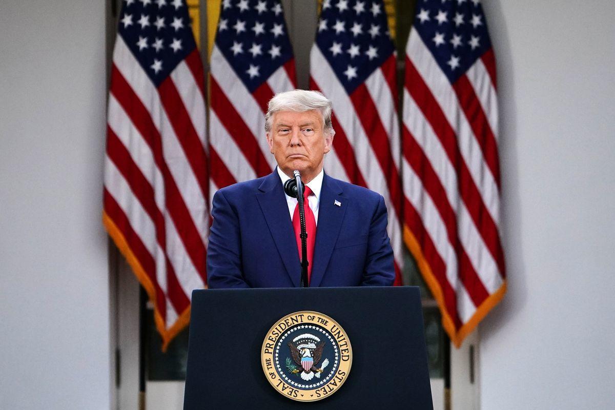 美國總統特朗普2020年11月13日就疫苗神速行動在白宮玫瑰園發表講話。(MANDEL NGAN/AFP via Getty Images)