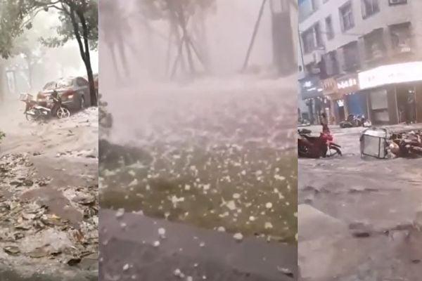 4月18日,貴州省平塘縣下起了大冰雹。(影片截圖合成)