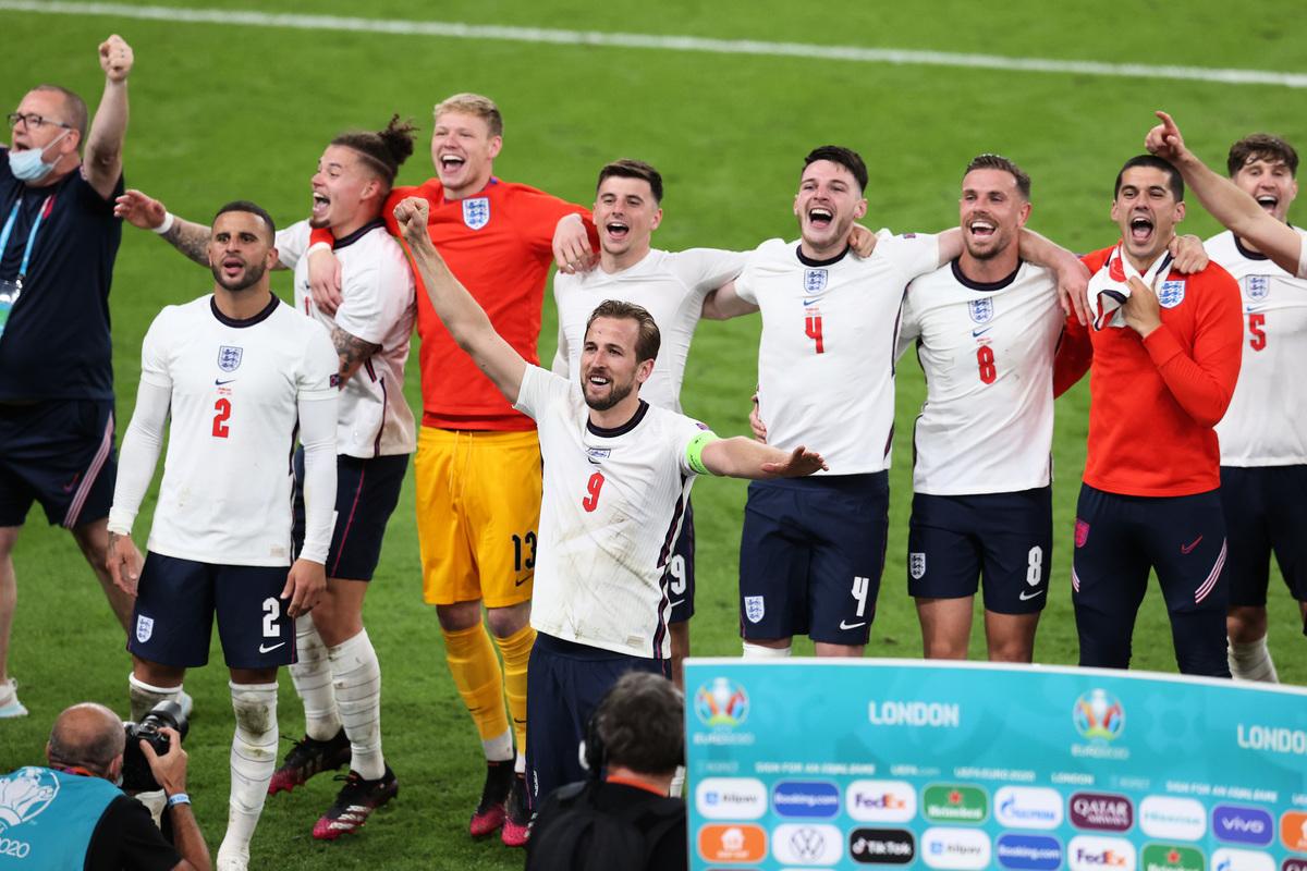 歐洲準決賽,英格蘭通過加時賽以2:1戰勝丹麥,歷史上首次闖入歐洲盃決賽。(Catherine Ivill/Getty Images)