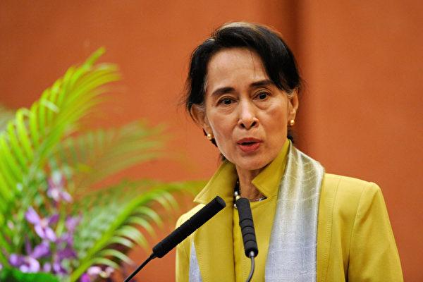 緬甸軍政府領袖敏昂萊(Min Aung Hlaing)日前表示,被軍方罷免的民選政府領袖昂山素姬(Aung San Suu Kyi)不久將會露面。昂山素姬資料照。(Kenichiro Seki/AFP)