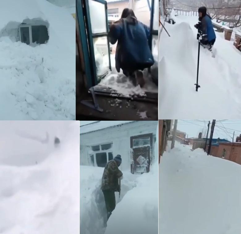 2020年4月20至21日,黑龍江多地降下大雪。有影片顯示齊齊哈爾大雪封門。(影片截圖合成)