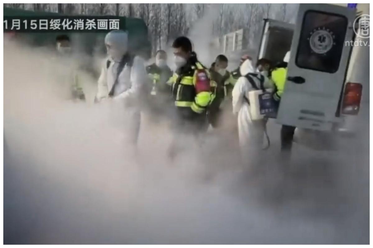 圖為1月15日黑龍江綏化市消毒畫面。(影片截圖)