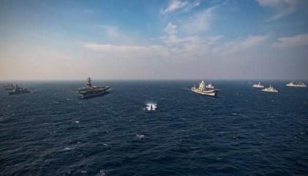 2020年11月17日,尼米茲航母(CVN68)與印度、日本、澳洲海軍在印度洋加了馬拉巴爾(Malabar 2020)演習。(美國海軍)