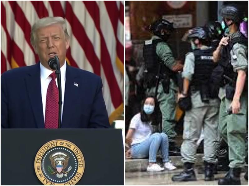 2020年7月14日,美國總統特朗普宣佈簽署了《香港自治法》(香港問責法)法案和一個行政令,回擊「港版國安法」。(大紀元合成圖)