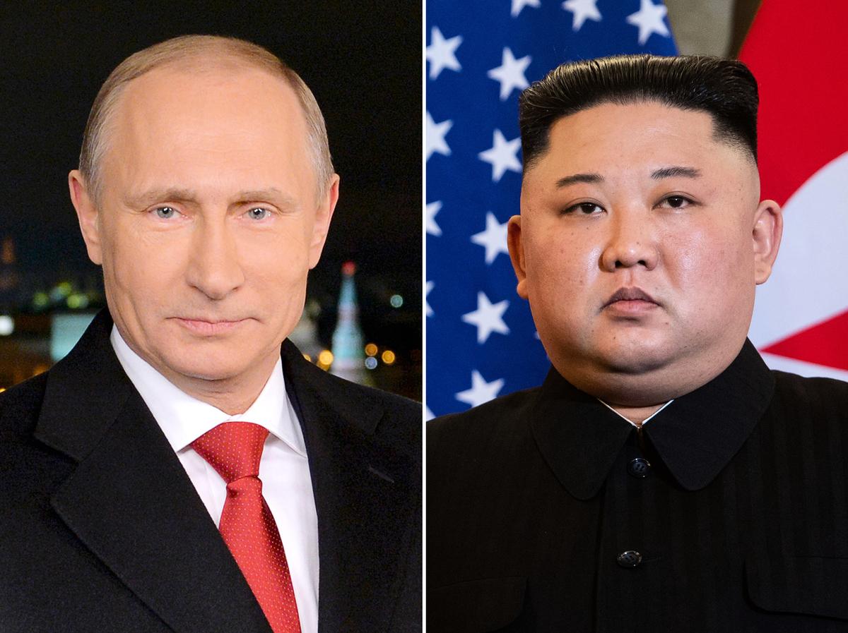 周三(4月24日),北韓領導人金正恩精心編排的首次訪問俄羅斯出師不利。圖為普京(左)和金正恩(右)。(ALEXEY DRUZHININ,SAUL LOEB/AFP/Getty Images)