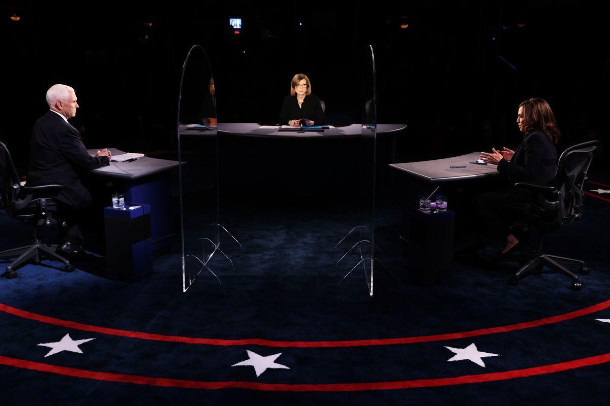 美東時間10月7日,美國2020年副總統辯論會在猶他州進行。(JUSTIN SULLIVAN/POOL/AFP via Getty Images)