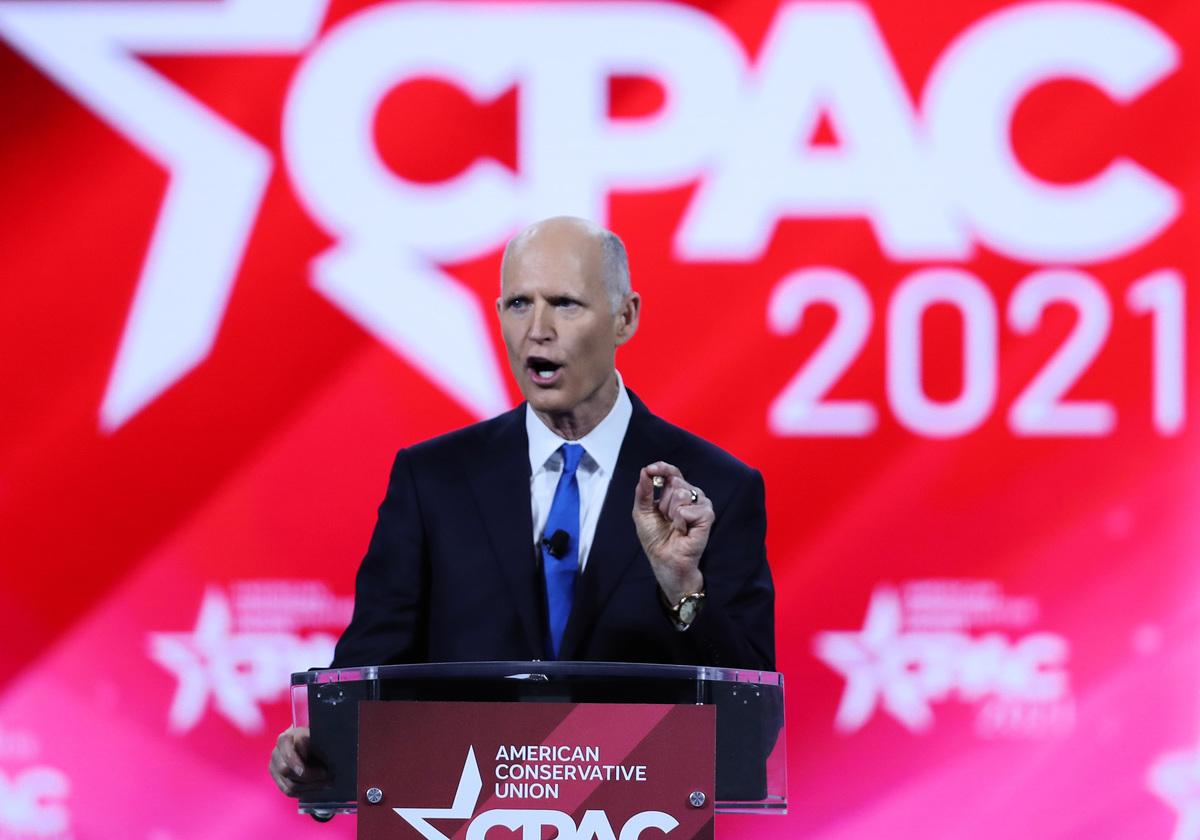 聯邦參議員里克·斯科特(Rick Scott)2021年2月26日在保守派大會(CPAC)上發表講話。(Joe Raedle/Getty Images)