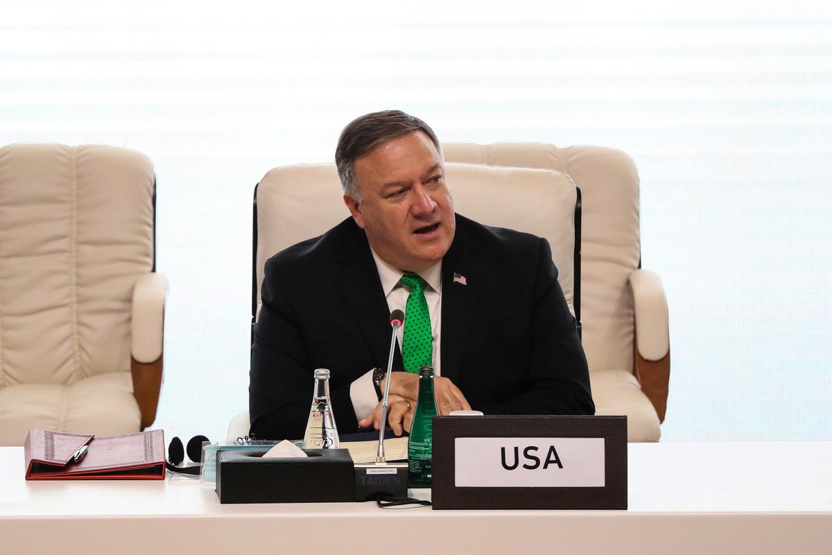 9月12日,在多哈舉行的阿富汗和塔利班和平談判開幕式上,美國國務卿蓬佩奧發表講話,督促談判雙方抓住機會,實現阿富汗持久和平。(Photo by KARIM JAAFAR / AFP)