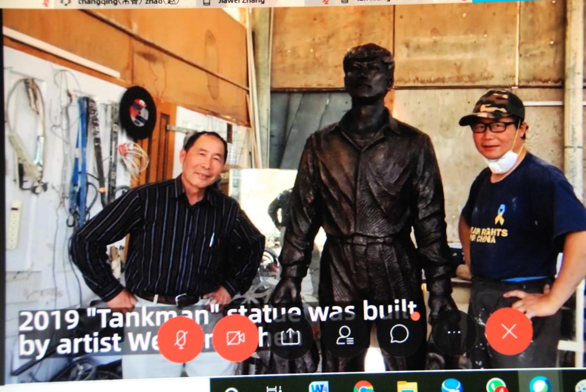 2020年6月3日,全球紀念六四31周年網絡會議展示的「坦克人」紀念塑像圖片。(影片截圖)