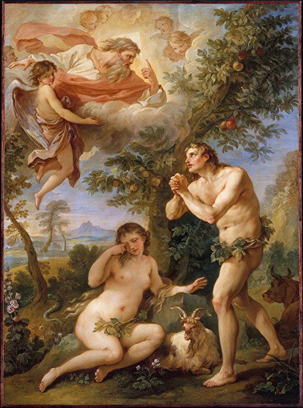 亞當和夏娃被上帝驅逐出天堂後,人類所有的期盼就是回返天國,回返那失去的樂園。圖為查理斯.約瑟夫.納托爾(Charles-Joseph Natoire)〈亞當和夏娃的斥責〉,1740年。(公有領域)