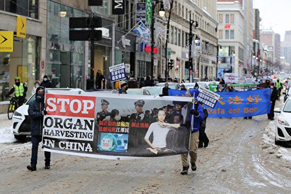 2021年2月27日下午,加拿大魁北克省部份法輪功學員在滿地可舉行「天滅中共 結束迫害」大遊行,沿途受到民眾熱烈響應和支持。(大紀元)