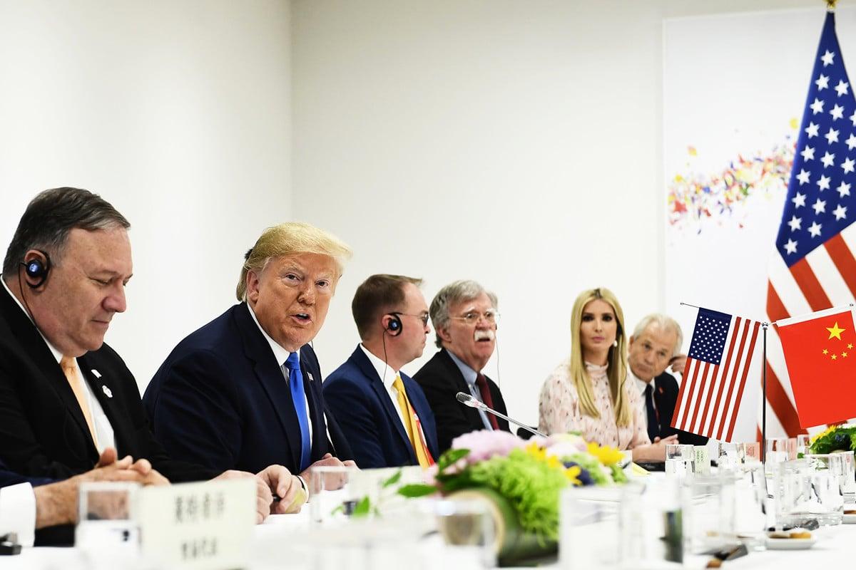 日本大阪時間6月29日上午11點47分,美國總統特朗普與中國國家主席習近平舉行午餐會晤。(Brendan Smialowski / AFP)