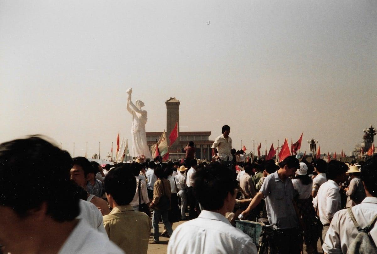 1989年6月3日,天安門廣場的民主自由女神。(王珍提供)