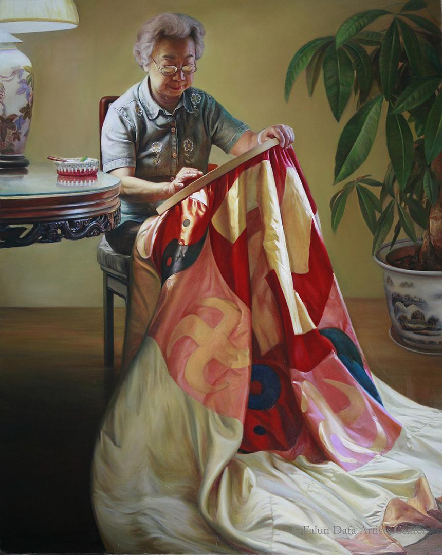 董錫強,《莊嚴》(局部),2008年第一屆全世界人物寫實油畫大賽銅獎作品。(新唐人全世界寫實人物油畫大賽組委會提供)