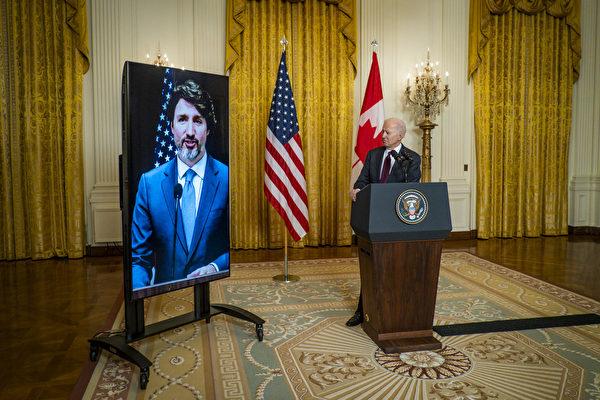 美國總統拜登和加拿大總理杜魯多2月23日舉行影片會談。(Pete Marovich-Pool/Getty Images)