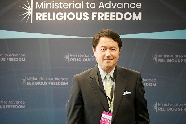 2020年7月16日,法輪功發言人張而平受邀參加在美國國務院舉行的宗教自由會議。(李辰/大紀元)