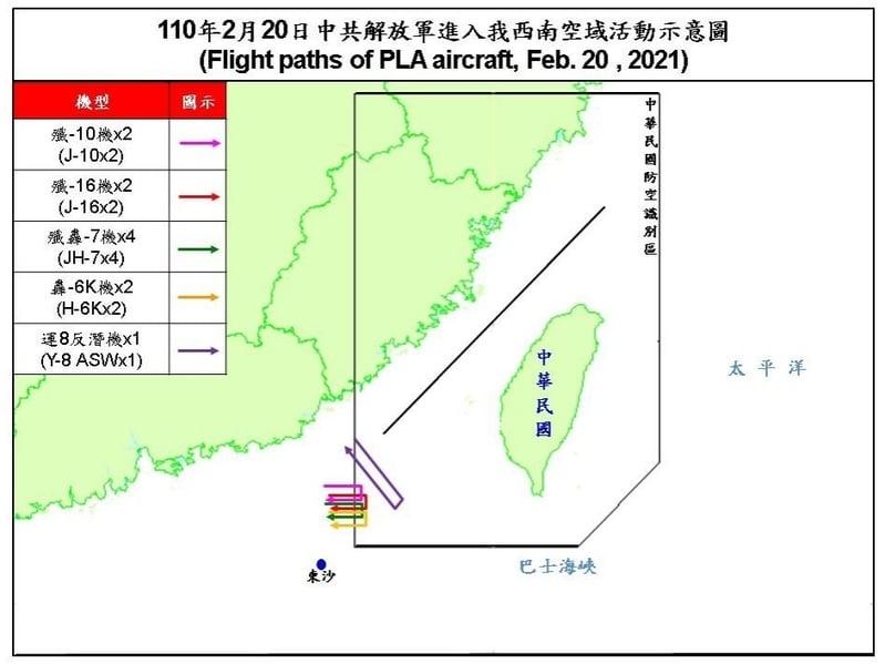 2021年2月20日中共派遣2架殲10、2架殲16、4架殲轟7、2架轟6K、1架運8反潛機,侵擾台灣西南防空識別區。(台灣國防部提供)