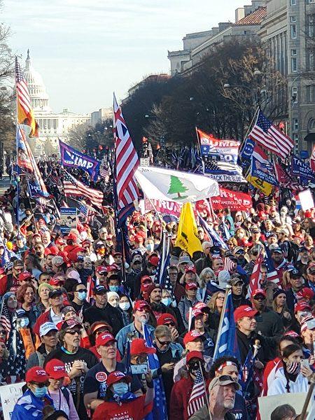 華府大型活動抗議大選舞弊,支持特朗普總統。(大紀元)