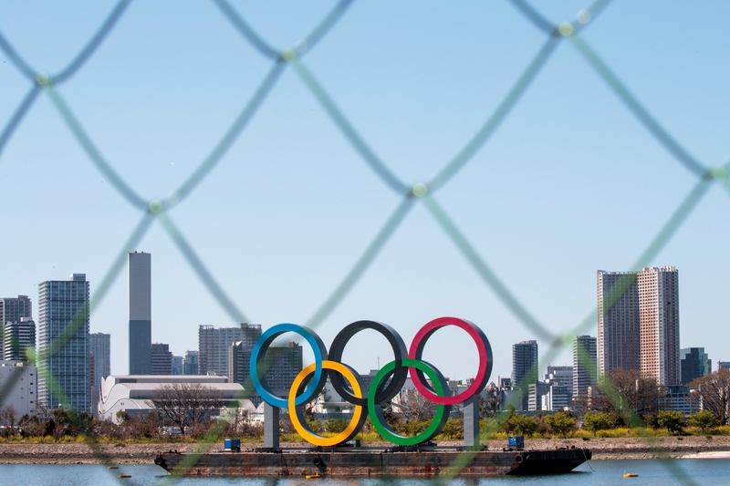 2020年3月25日,東京2020奧運五環。(BEHROUZ MEHRI/AFP via Getty Images)