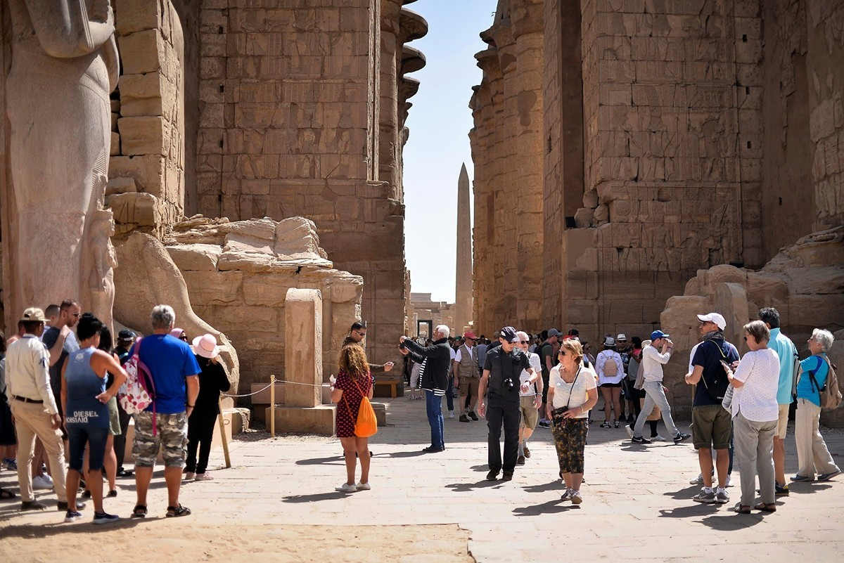 圖為埃及南部城市盧克索(Luxor)旅遊景點卡納克神廟(Karnak Temple Complex)(攝於2020年3月8日)(AFP)
