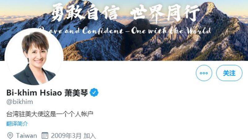 台灣駐美代表蕭美琴的個人推特帳號日前突然更名為「台灣駐美大使」。(推特截圖)