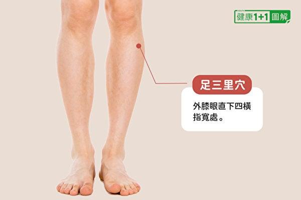 足三里穴位於外膝眼直下四橫指寬處。(健康1+1/大紀元)
