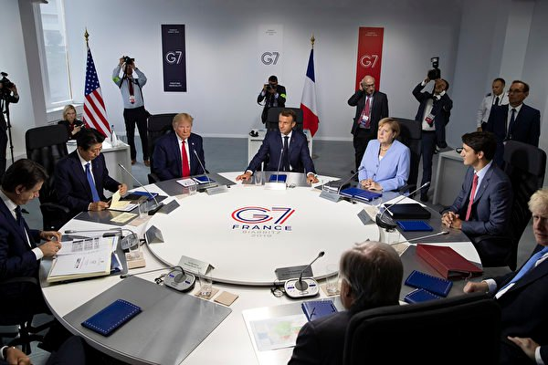2019年七國集團峰會(G7)在法國落幕,七國領導人支持在1984年《中英聯合聲明》中規定的香港自治權,同時呼籲各方保持冷靜。(Ian LANGSDON/POOL/AFP)
