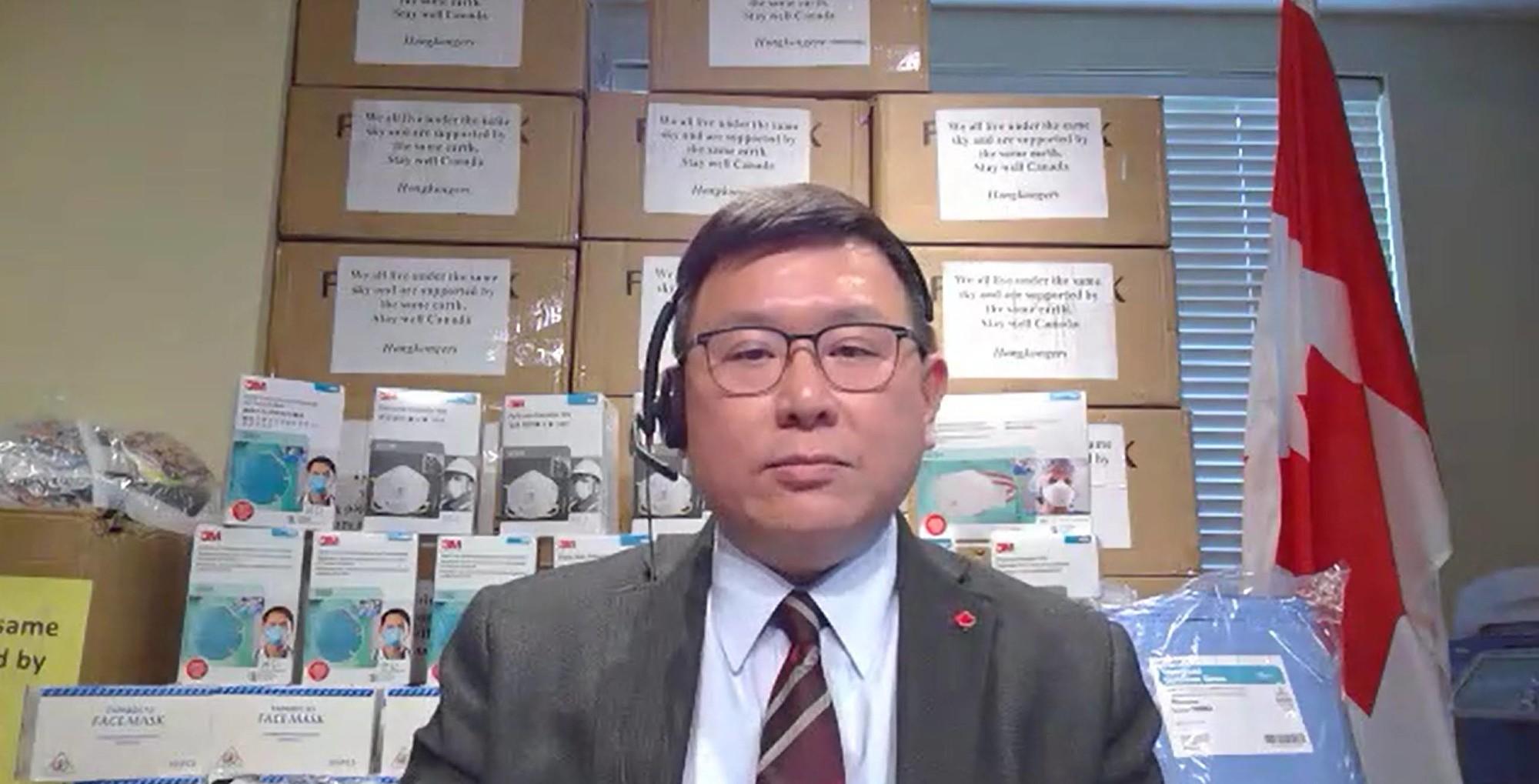 2020年5月20日,加拿大保守黨國會議員趙錦榮與安省和魁省國會議員舉行影片新聞會,感謝香港人捐贈給加拿大人個人防護設備。(趙錦榮提供)