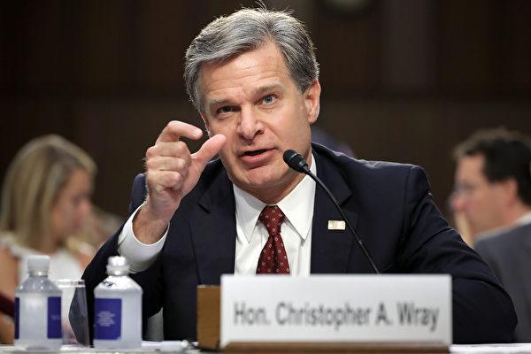 圖為聯邦調查局(FBI)局長克里斯托弗·雷(Christopher Wray)出席國會聽證。(Getty Images)