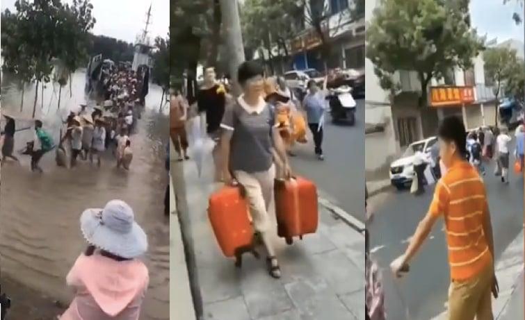 安徽省安慶、蕪湖等五市的長江江心洲和外灘圩人員需要立即撤離。圖為災區逃命的人們。(影片截圖合成)