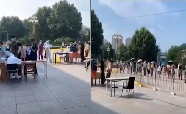 7月23日,大連當局宣佈進入戰時狀態。24日起,乘坐地鐵3號線的乘客必須先通過核酸檢測。圖為地鐵站市民排隊做核酸檢測。(影片截圖合成)