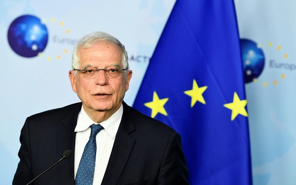 歐盟外交和安全政策高級代表博雷利(Josep Borrell)2021年3月28日在歐洲議會全體會議上表示,歐盟3月22日對直接侵犯人權的4個中共官員和1個機構祭出制裁,這是歐盟的一項「創舉」,也符合歐盟持續對新疆人權議題的關切。(JOHN THYS/AFP via Getty Images)