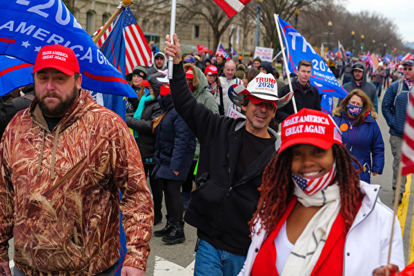 2021年1月6日,美國華盛頓DC,民眾湧入華府參加MAGA集會遊行,呼籲制止竊選,拯救美國。(MARK ZOU/大紀元)