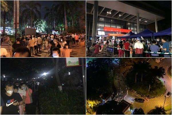 6月14日,黃埔區聯合街道再曝出疫情,市民連夜排隊做核酸檢測。(網絡圖片)