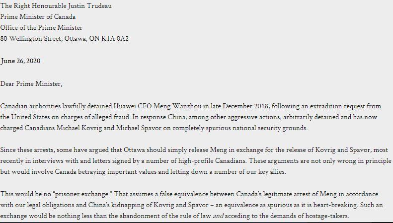 加拿大32名學者、政治家和知名人士向總理杜魯多遞交公開信。公開信同時鼓勵總理杜魯多對中國(中共)保持強硬,捍衛全球加拿大國民的安全。(網絡截圖)
