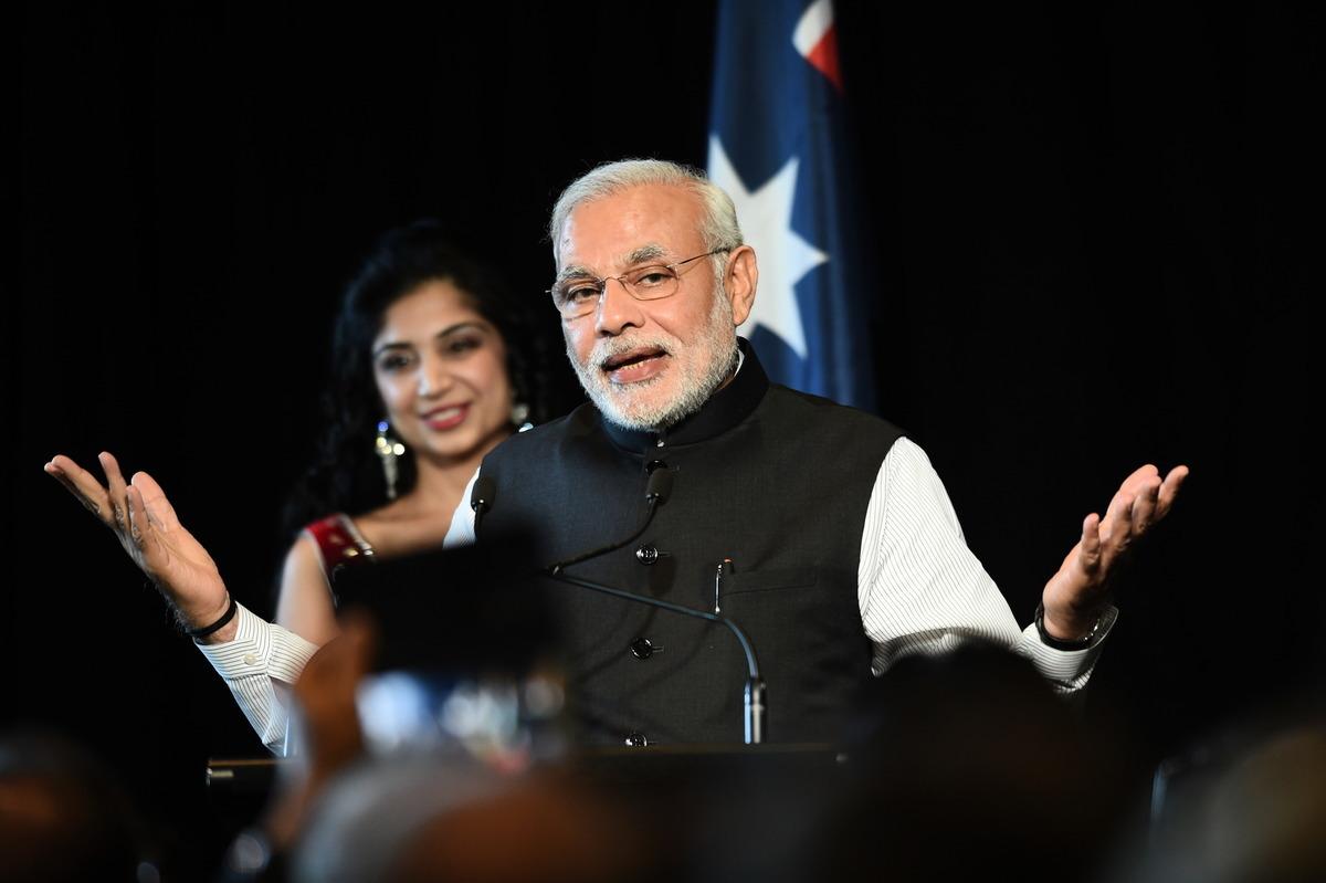 圖為印度總理莫迪於2014年訪問澳洲墨爾本。(Tracey Nearmy - Pool/Getty Images)