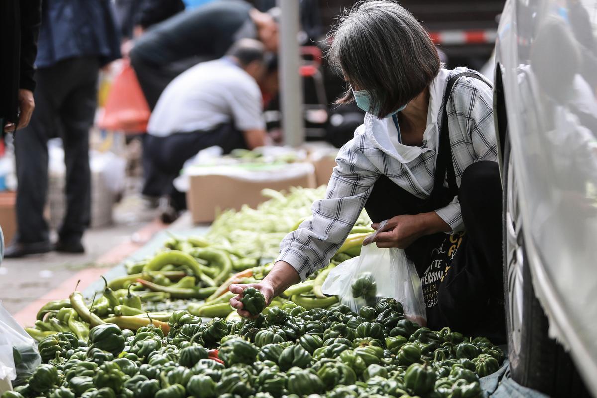 圖為9月9日,中國遼寧省瀋陽市的居民正在市場上挑選蔬菜。中共倡導的內循環下,大多數老百姓只能省吃儉用的生活。(STR/AFP via Getty Images)