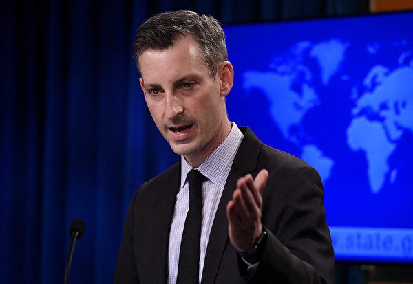 美國國務院發言人內德‧普賴斯(Ned Price)說,他無法做出世衛專家已得到中方充份合作的結論,且北京對病毒大流行是否完全透明也尚無定論。(OLIVIER DOULIERY/POOL/AFP)