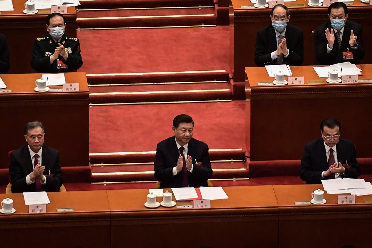 3月11日,中共全國人大會議通過修改香港選舉制度草案。(NICOLAS ASFOURI/AFP via Getty Images)