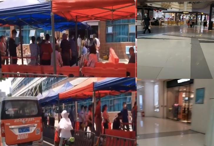 武漢武昌「銷品茂」(shopping mall,圖右)幾乎沒有顧客,而協和醫院門診處(圖左)則大排長龍做核酸檢測。(影片截圖合成)