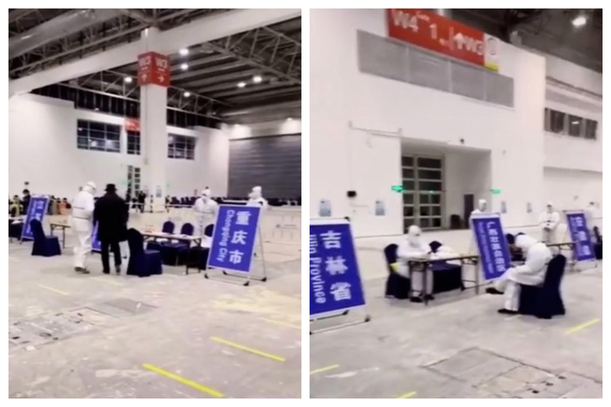 近日陸媒宣傳「回國避疫」,但接待大廳裏裏人員稀少,各省份流工作人員很閑。(影片截圖)