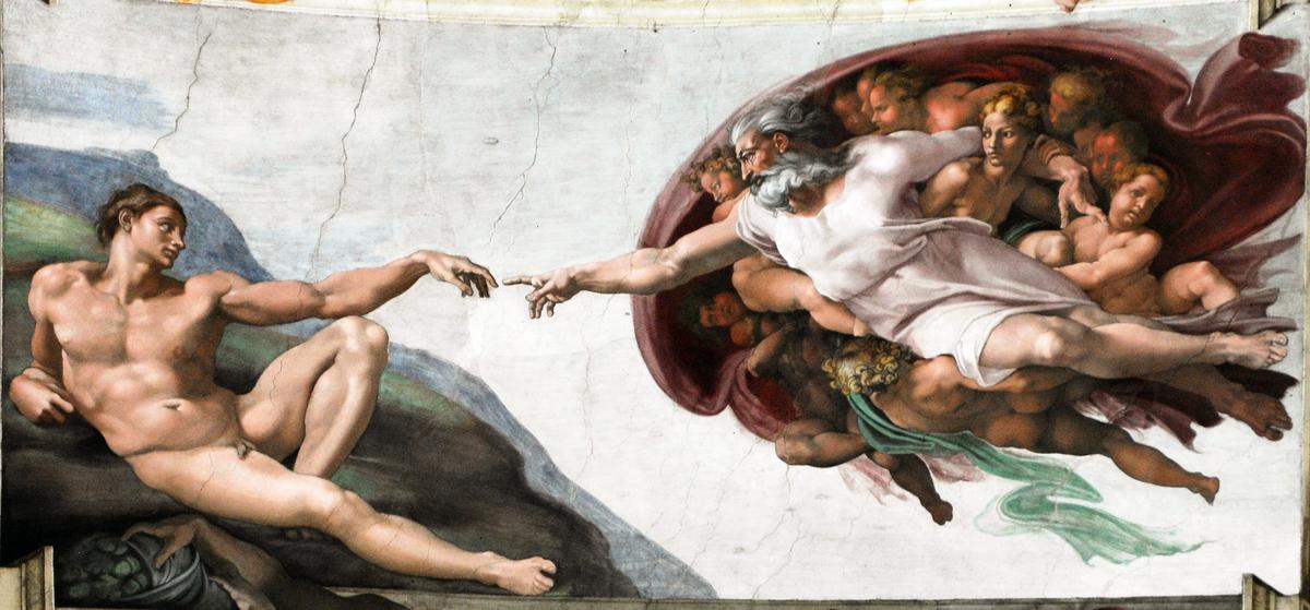 數千年來,人相信生命來自於上天,是神佛所創造。圖為〈創造亞當〉,是米高安哲羅創作的西斯汀小堂天頂畫〈創世紀〉的一部份。(公有領域)